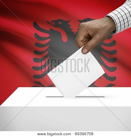 Ballot Box With National Flag On Background - Albania