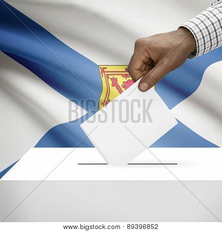 Voting Concept - Ballot Box With Canadian Province Flag On Background - Nova Scotia