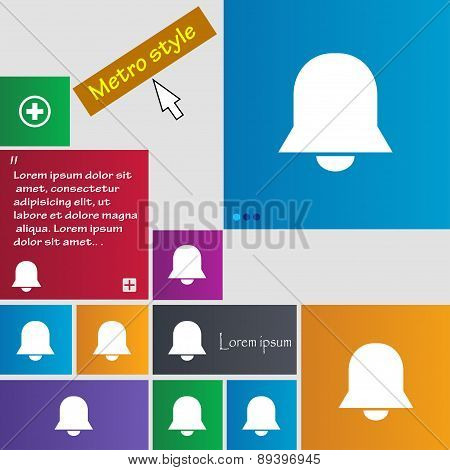 Alarm Bell Icon Sign. Metro Style Buttons. Modern Interface Website Buttons With Cursor Pointer. Vec