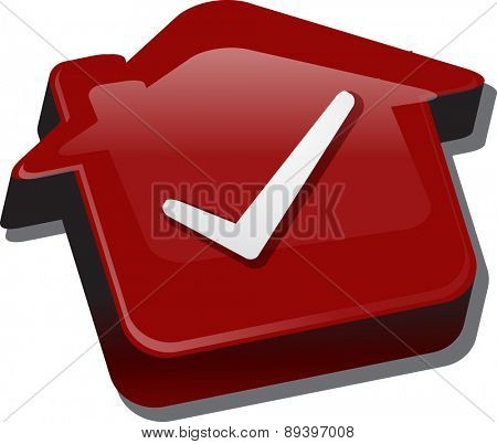 Illustration concept clipart of home with approval checkmark OK passed house vector