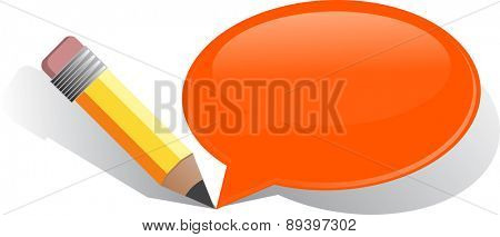 Illustration concept clipart written communication with pencil and speech bubble vector
