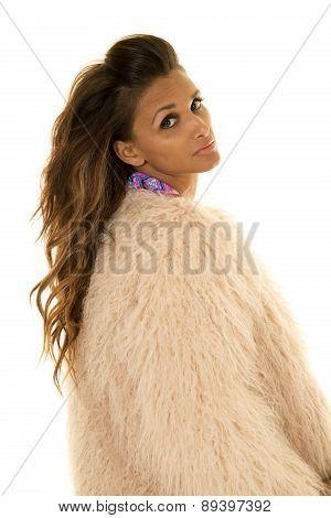 Woman Bikini Under Fur Side Looking
