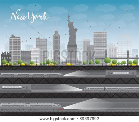 New York city skyline with blue sky, clouds, yellow taxi and train Vector illustration