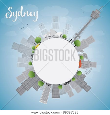 Sydney City skyline with blue sky, skyscrapers and copy space. Vector illustration