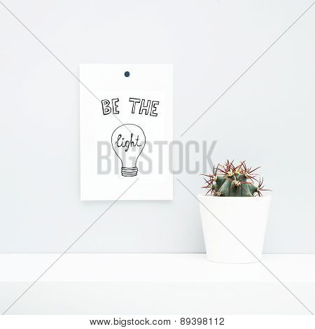 Hipster Scandinavian Style Room Interior. Be The Light. White Pot With Cactus