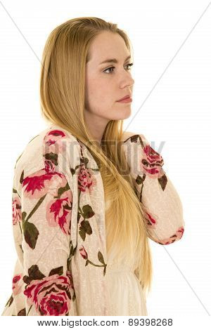 Woman Flower Shirt Long Hair Hand On Shoulder Look Side