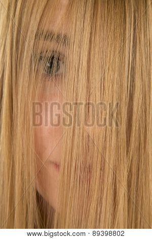 Woman Hair Over Eyes Closed