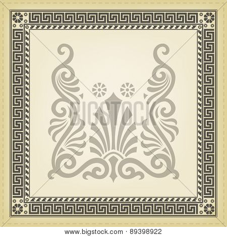 Greek traditional meander border. Vector illustrations.