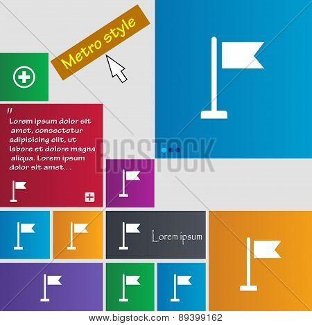 Flag Icon Sign. Metro Style Buttons. Modern Interface Website Buttons With Cursor Pointer. Vector