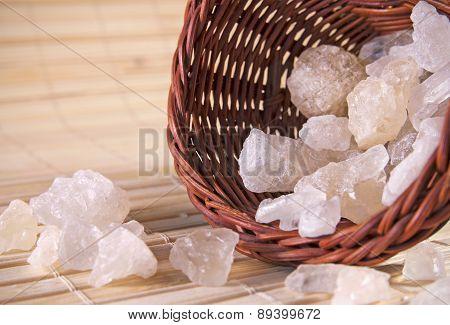White rock sugar in the basket