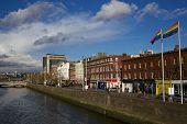 picture of gay pride  - Pride Flags Flying Over Aston Quay Dublin in the wake of gay marraige debate in Dublin - JPG