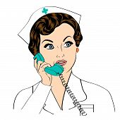 pic of nurse  - Beautiful friendly and confident nurse at phone vector illustration - JPG