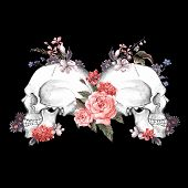 foto of day dead skull  - Roses and Skull - JPG