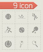 stock photo of snickers  - Vector tennis icon set on grey background - JPG