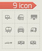 picture of trailer park  - Vector trailer icon set on grey background - JPG