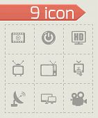 stock photo of tv sets  - Vector tv icon set on grey background - JPG