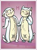 image of gemini  - zodiac sign baby birth gemini vector illustration - JPG