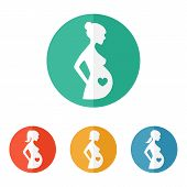 image of pregnancy  - Pregnant woman sign icon vector - JPG