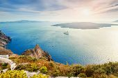 picture of greek-island  - Beautiful view of the sea and islands at sunset - JPG