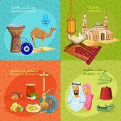 stock photo of dromedaries  - Arabic culture Icon Set on light background - JPG