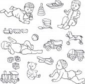 stock photo of baby bear  - set of line drawing babies and toys - JPG