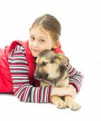 foto of mutts  - Portrait of a Girl and puppy mutts on a white background isolated - JPG
