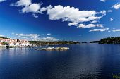 stock photo of fjord  - Spring Picturesque view at Norwegian fjord in southern Norway - JPG