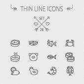 picture of grilled sausage  - Food and drink thin line icon set for web and mobile - JPG
