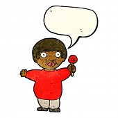 stock photo of obesity children  - cartoon fat child with speech bubble - JPG