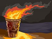 image of tiki  - Illustration of a lighted Tiki themed Torch by the beach - JPG