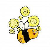 image of bee cartoon  - cartoon flying bee - JPG