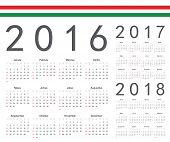stock photo of hungarian  - Set of Hungarian 2016 2017 2018 year vector calendars - JPG