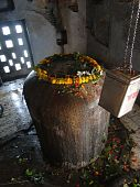 pic of lingam  - Large lingam outside Shiva Temple Kedara Ghat Varanasi India - JPG