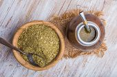 pic of gaucho  - Yerba mate on a white wooden table - JPG