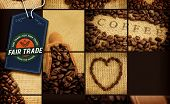foto of free-trade  - Fair Trade graphic against various pictures with beans - JPG