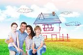 picture of lap  - Happy children sitting on parents laps against blue sky over green field - JPG
