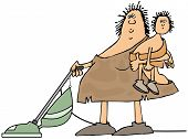 pic of obesity children  - This illustration depicts a cavewoman holding a child and using a vacuum cleaner - JPG