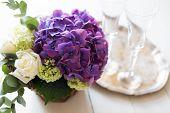image of purple rose  - Big bouquet of fresh flowers - JPG