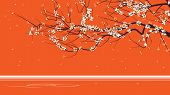 pic of orange blossom  - Horizontal abstract illustration drawing of blossoming tree branch on orange - JPG