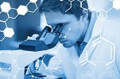 picture of scientific research  - Science graphic against scientific researcher using microscope in the laboratory - JPG