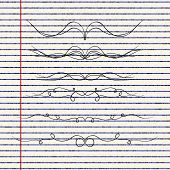 pic of divider  - Hand drawn illustration of dividers on a sheet of lined paper - JPG