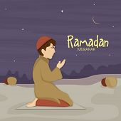 stock photo of boys night out  - Cute little Muslim boy in traditional dress praying  - JPG
