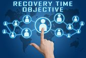 stock photo of objectives  - Recovery Time Objective concept with hand pressing social icons on blue world map background - JPG