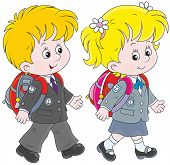 image of schoolboys  - Little schoolgirl and schoolboy going with schoolbags - JPG