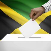stock photo of jamaican flag  - Ballot box with flag on background  - JPG