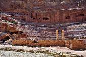 stock photo of petra jordan  - View of ancient amphitheater in Petra Jordan - JPG