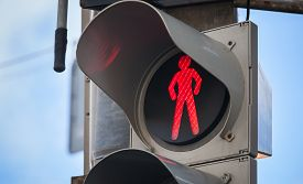 pic of traffic signal  - Modern pedestrian traffic lights with red stop signal - JPG