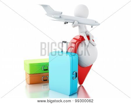 3D White People Tourist With Travel Suitcases.