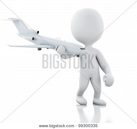 3D White People With A Airplane. Travel Concept