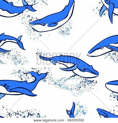 Seamless pattern with whales on white background.